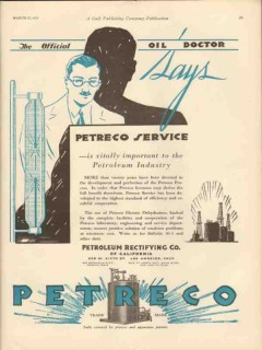 Petroleum Rectifying Company 1931 Vintage Ad Oil Petreco Service