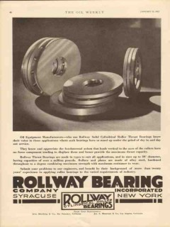 Rollway Bearing Company 1931 Vintage Ad Oil Solid Cylinder Roller