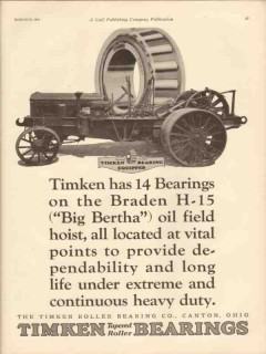 Timken Roller Bearing Company 1931 Vintage Ad Braden Big Bertha Hoist