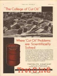 Tretolite Company 1930 Vintage Ad Oil Collage Cut Process Wm Barnickel