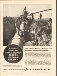 A B Chance Company 1962 Vintage Ad Oil Pipeline Anchors Hold-Down Pipe