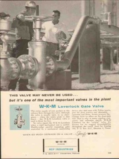 ACF Industries 1962 Vintage Ad W-K-M Leverlock Gate Valve Never Used