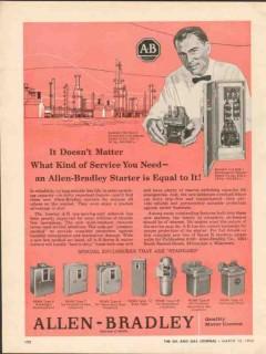Allen-Bradley Company 1962 Vintage Ad Service Need A-B Starter Equal