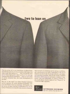 Allied Chemical 1962 Vintage Ad Two Lean Ethylene Glycol Ethanolamine