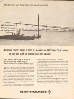 allis-chalmers 1962 dow hurricane carla super seal motors vintage ad