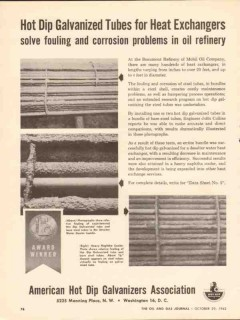 American Hot Dip Galvanizers Assoc 1962 Vintage Ad Oil Heat Exchangers