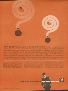 American Mannex Corp 1962 Vintage Ad Oil Questions Plastic Pipe Steel