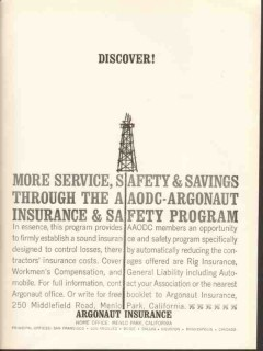 Argonaut Insurance 1962 Vintage Ad Oil Discover Service Safety Savings