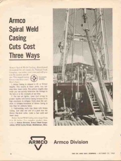 Armco Steel Corp 1962 Vintage Ad Oil Spiral Weld Casing Cut Cost Drill