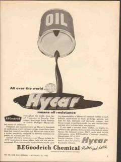 b f goodrich chemical 1962 hycar oil resistance rubber vintage ad