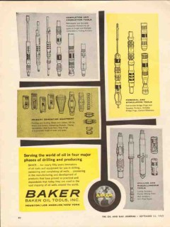 Baker Oil Tools Inc 1962 Vintage Ad Drilling Producing Four Phases