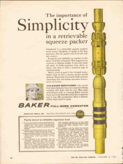 Baker Oil Tools Inc 1962 Vintage Ad Packer Full-Bore Cement Simplicity