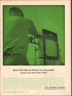 Barton Instrument Corp 1962 Vintage Ad Union Oil Service Salt Water