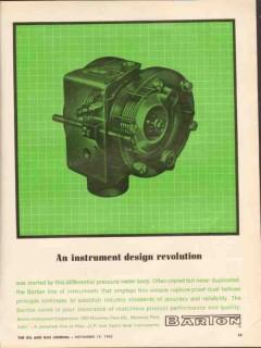 Barton Instrument Corp 1962 Vintage Ad Oil Differential Pressure Meter