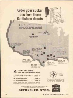 Bethlehem Steel Company 1962 Vintage Ad Oil Pumping Order Sucker Rods
