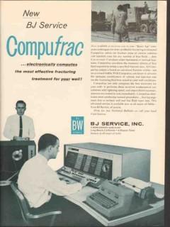 BJ Service Inc 1962 Vintage Ad Oil Compufrac Electronic Computes Wells
