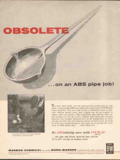 borg-warner co 1962 marbon obsolete abs plastic pipe job vintage ad