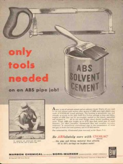borg-warner co 1962  tools needed marbon abs plastic pipe vintage ad