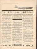 braniff international airways 1962 cost of living 40000 ft vintage ad