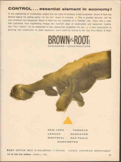 Brown Root Inc 1962 Vintage Ad Oil Control Engineering Construction