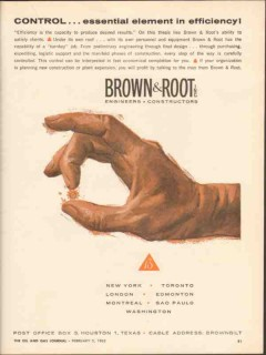 Brown Root Inc 1962 Vintage Ad Oil Control Efficiency Desired Results
