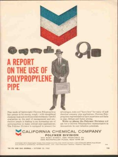 California Chemical Company 1962 Vintage Ad Oil Polypropylene Pipe