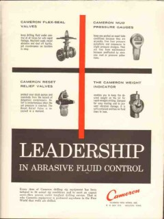 Cameron Iron Works 1962 Vintage Ad Oil Abrasive Fluid Control Leader