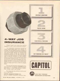 Capitol Mfg Company 1962 Vintage Ad Oil 4-Way Job Insurance Leak-Proof