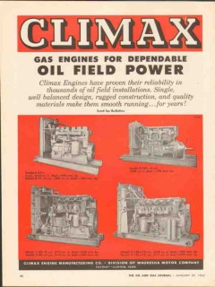 Climax Engine Mfg Company 1962 Vintage Ad Oil Field Power Reliability