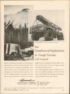 General Geophysical Company 1962 Vintage Ad Exploration Tough Terrain
