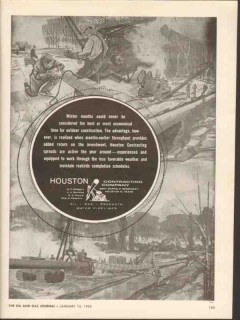 Houston Contracting Company 1962 Vintage Ad Pipe Winter Months Outdoor