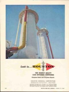 Houston Chemical Corp 1962 Vintage Ad Gasoline Lead Antiknock Quality
