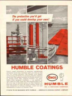 Humble Oil Refining Company 1962 Vintage Ad Coatings Protection Marine