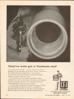 Colorado Fuel Iron Corp 1962 Vintage Ad Oil Pipe Gun Business End
