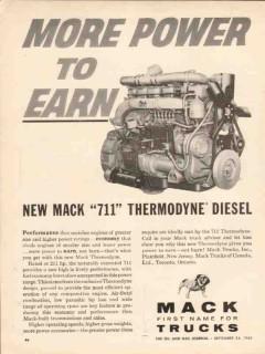 mack trucks 1962 more power 711 thermodyne diesel engines vintage ad