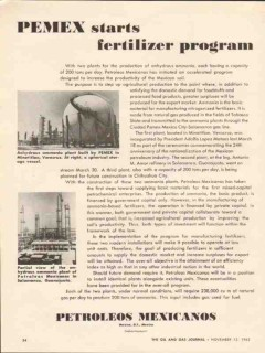 Petroleos Mexicanos 1962 Vintage Ad Pemex Ammonia Fertilizer Program