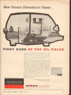 Petrolite Corp 1962 Vintage Ad Oil Field Petreco Chemelectric Treater