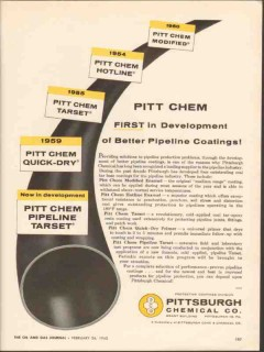 Pittsburgh Chemical Company 1962 Vintage Ad Better Pipeline Coatings