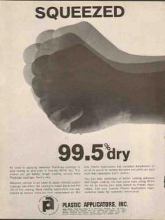 Plastic Applicators Inc 1962 Vintage Ad Squeezed Dry Plasticap Coating