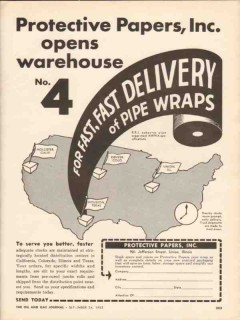 Protective Papers Inc 1962 Vintage Ad Asbestos Pipe Wrap Fast Delivery