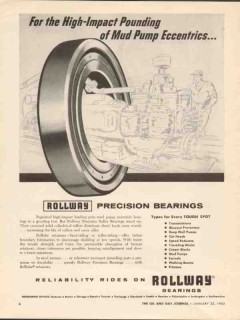 Rollway Bearing Company 1962 Vintage Ad Oil Field High-Impact Pounding