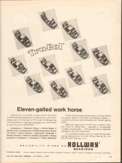 Rollway Bearing Company 1962 Vintage Ad Oil Tru-Rol Gaited Work Horse