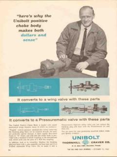 Thornhill-Craver Company 1962 Vintage Ad Unibolt Positive Choke Body