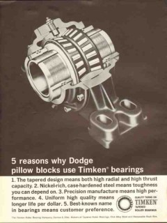 Timken Roller Bearing Company 1962 Vintage Ad Oil Dodge Pillow Blocks