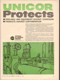 Universal Oil Products Company 1962 Vintage Ad Unicor Protects Pipe
