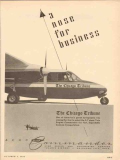 aero design and engineering 1953 tribune commander airplane vintage ad