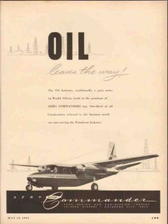 Aero Design Engineering Company 1953 Vintage Ad Oil Commander Airplane