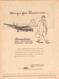 Aero Design Engineering Company 1953 Vintage Ad Wing Business Airplane