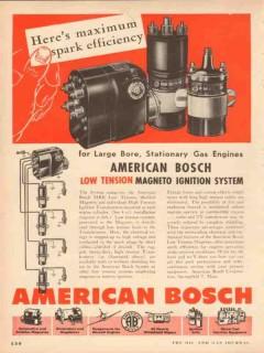 American Bosch 1953 Vintage Ad Maximum Spark Efficiency Engine Magneto