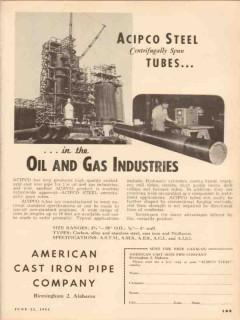 American Cast Iron Pipe Company 1953 Vintage Ad Oil Acipco Steel Tubes
